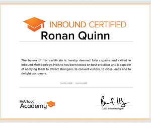 hubspot inbound marketing certified ronan quinn
